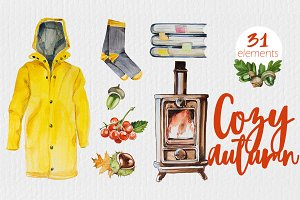 Watercolor Cozy Autumn Clipart