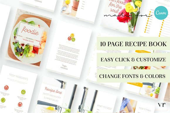 Foodie Recipe Book for Canva