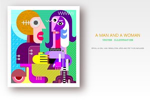 A Man and A Woman vector artwork