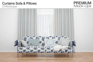 Curtains Sofa & Throw Pillows Set