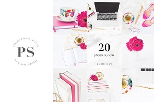 20 Photos  Fuchsia Pink Stock Bundle
