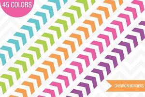 Clip Art Chevron Borders 45 Colors