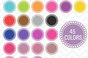 Clip Art Scallop Frames 45 Colors