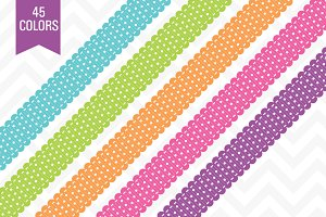 Polka Dot Ribbon Borders 45 Colors