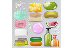 Soap vector hygiene soft-soap and
