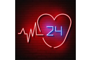 Bright heart. Neon sign. Retro neon