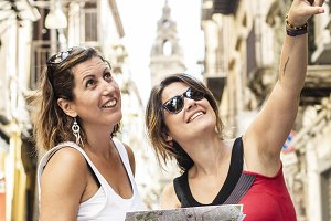 Two women sightseeing around