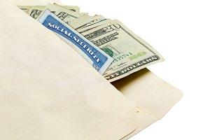 Stack of twenty dollar bills in