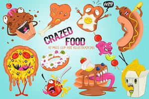 Funny Crazed Foods Illustrations