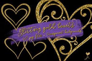 Glittery Gold Hearts