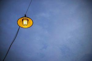 Lamp on blue sky at twilight