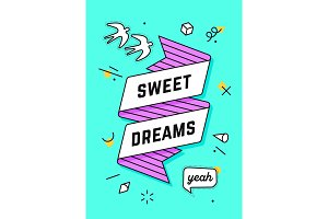 Sweet Dreams. Vintage ribbon banner