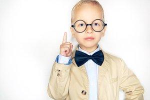 Cute little boy wearing a bowtie and