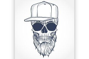 Angry skull with beard