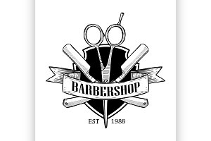Barbershop logo with big scissors