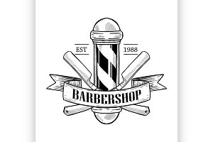 Barbershop logo with dangerous razor
