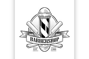 Barbershop logo with pole