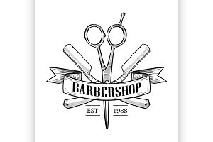 Barbershop logo with scissors