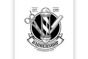 Barbershop logo with scissor
