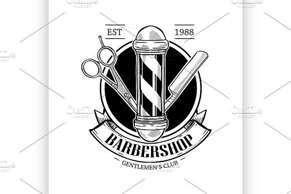 Barbershop Logo With Scissor Illustrations Creative Market