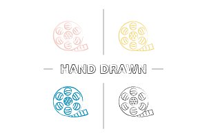 Filmstrip roll hand drawn icons set