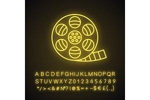 Filmstrip roll neon light icon