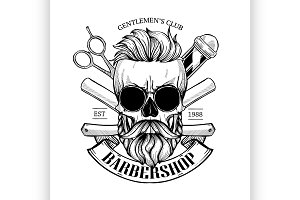 Barbershop logo, angry sticker