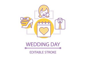Wedding day preparation concept icon