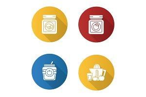 Homemade preserves icons set
