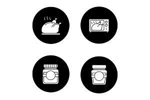 Food glyph icons set