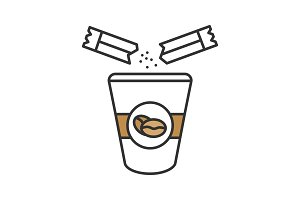 Adding sugar to coffee color icon