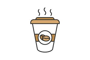 Coffee to go color icon