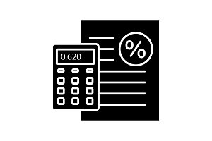 Percentage calculator glyph icon