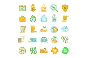 Percents color icons set