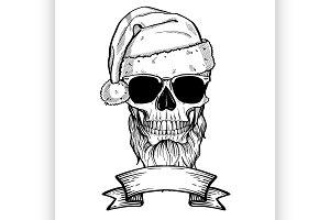 Hand drawn angry skull of Santa