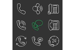 Phone communication chalk icons set