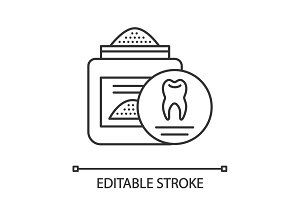 Tooth powder linear icon