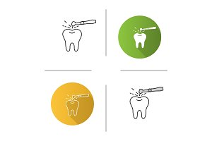 Tooth drilling process icon