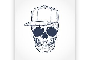 Skull with hat and sunglasses, line