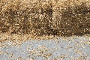 Background of dry straw on cobblesto