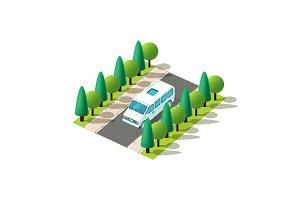 Isometric blue minibus