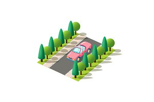 Isometric pink cabriolet