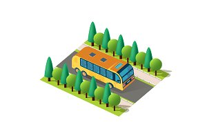 Isometric front left view bus