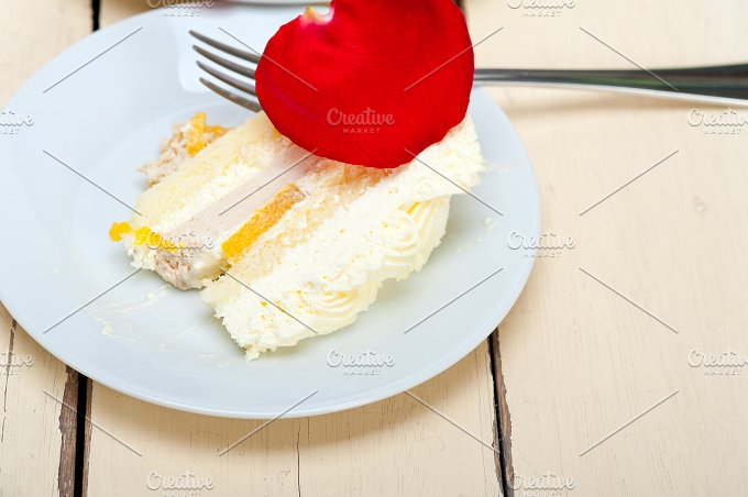 whipped cream mango cake with red rose petals 067.jpg - Food & Drink