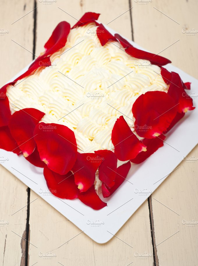 whipped cream mango cake with red rose petals 001.jpg - Food & Drink