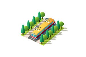 Isometric front left view tram