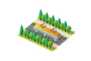 Isometric front right view tram