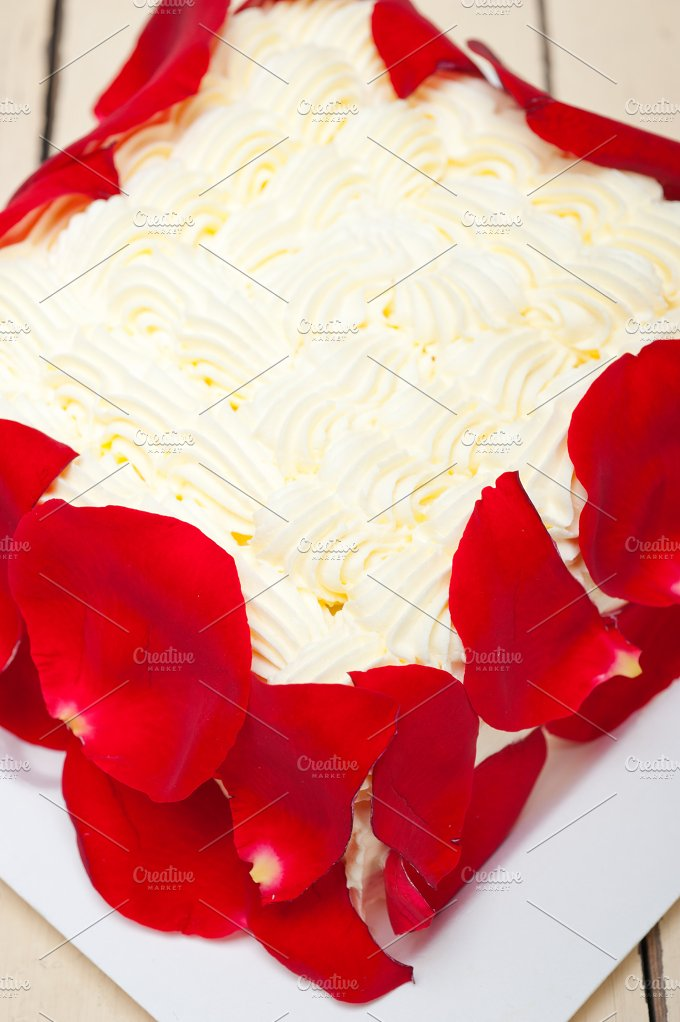 whipped cream mango cake with red rose petals 002.jpg - Food & Drink