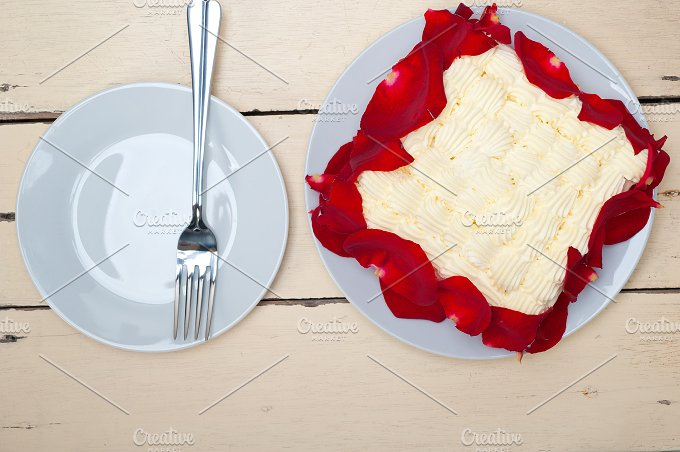 whipped cream mango cake with red rose petals 007.jpg - Food & Drink