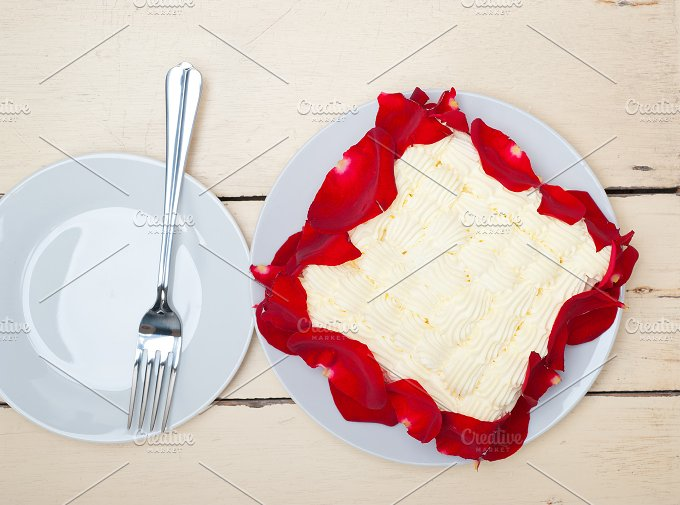 whipped cream mango cake with red rose petals 017.jpg - Food & Drink